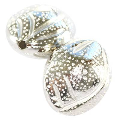 almonds silver plastic beads 21 mm