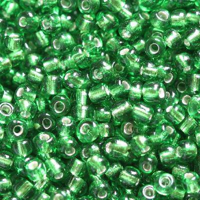 glass seed beads green 2 mm