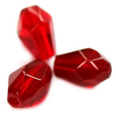 łezki szlifowane czerwone 11 x 7 mm
