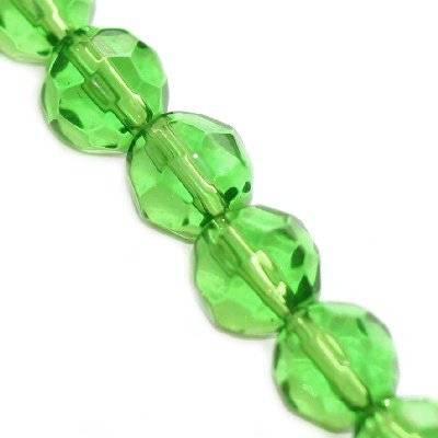 kryształki okrągłe zielone 10 mm / koraliki szklane