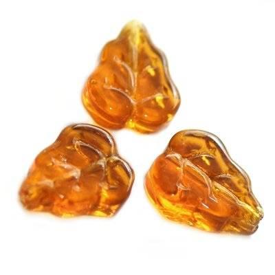 listki brązowe 12 mm / koraliki szklane