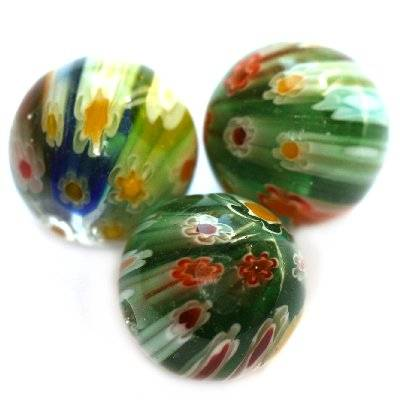 beads green millefiori flowers 12 mm