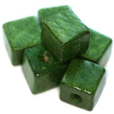 cubes en bois vert foncé 12 mm