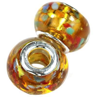 perles modulaires éclatantes ambre 9 x 14 mm