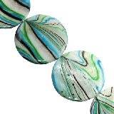mother of pearl coin green waves 30 mm