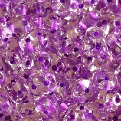Perles SuperDuo 2,5 x 5 mm color lined dark purple / Tchèque Perles 2 trous