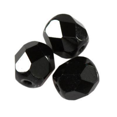 Firepolish 6mm facettes Rondes deep black Tchèque Perles de Verre