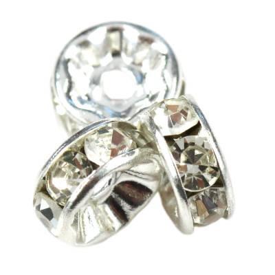 SparkleRings™ kolor srebrny białe 6 mm przekładki jubilerskie rhinestone
