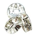 SparkleRings™ silver white 6 mm rondelle rhinestone ottone perline distanziatori