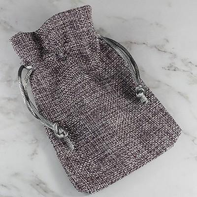 linen bag gray 9 x 12 cm