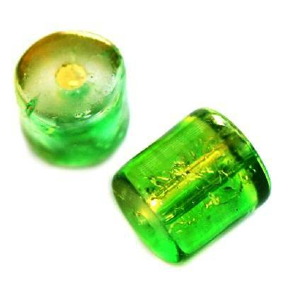 crackle beads tubes green 7 x 8 mm