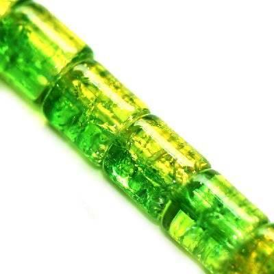 koraliki crackle walce zielone 7 x 8 mm