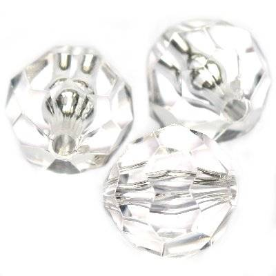 plastic faceted round beads transparent 16 mm