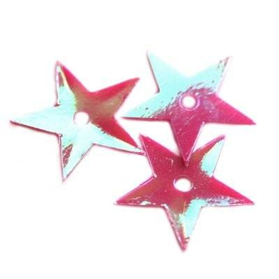 sequins cream - rainbow stars pink 13 mm