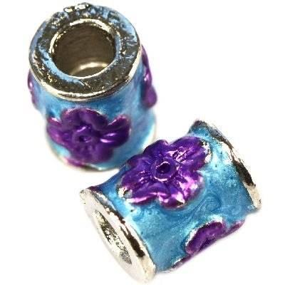 perline modulari viola fiori cilindri 8 x 10 mm