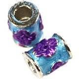 koraliki modułowe fioletowe kwiaty walce 8 x 10 mm