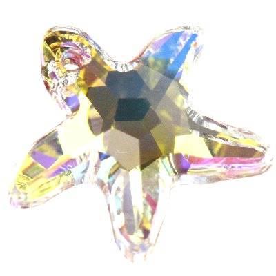 Swarovski starfish pendants crystal ab 16 mm
