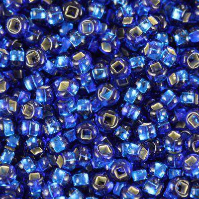 Preciosa beads Rocaille transparent silver lined blue 2.1 mm / seed beads