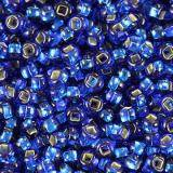 Preciosa helmiä Rocaille transparent silver lined blue 2.1 mm