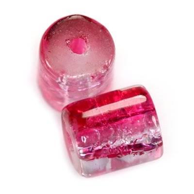 koraliki crackle walce różowe 7 x 8 mm