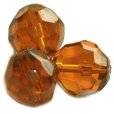 kryształki okrągłe brązowe 10 mm / koraliki szklane