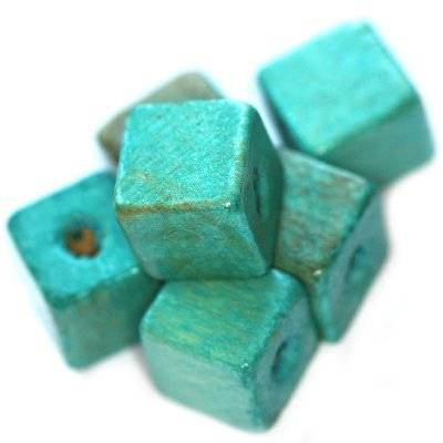 koraliki drewniane kostki turkusowe 12 mm