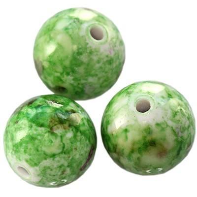 Kugelperlen Plastik ausgefallen grün-schwarz 8 mm