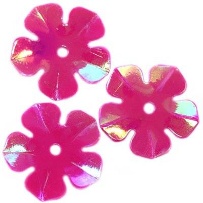 cekiny kremowo - tęczowe kwiatki różowe 15 mm