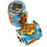 perles modulaires cylindres fleurs ambre 8 x 10 mm