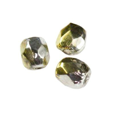 Czech Fire Polished beads 3mm round silver gold