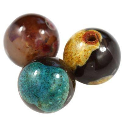 agat gładki żółto niebieski 12 mm kamień półszlachetny naturalny barwiony