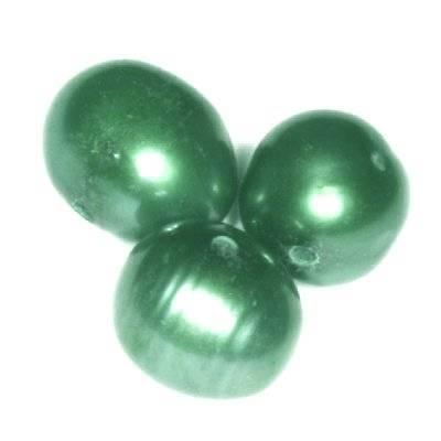 perełki słodkowodne 6-7 mm zielone