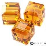 Swarovski cube beads topaz 4 mm