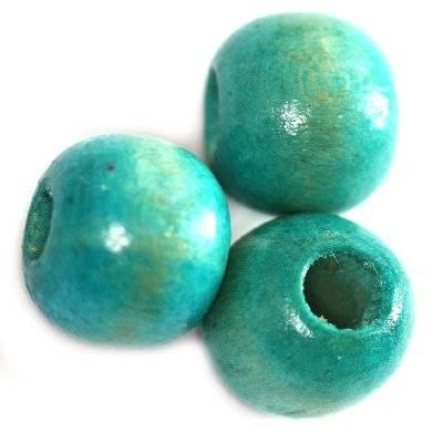 perline in legno rotondo turchesi 11 x 12 mm