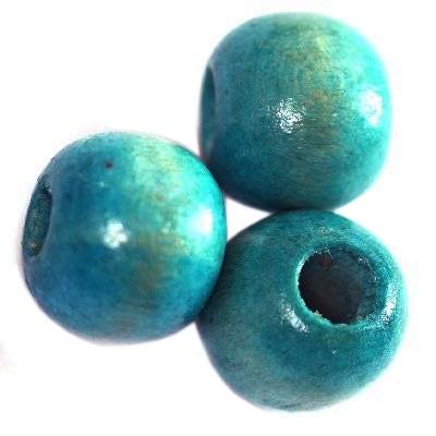 perles rondes en bois brun turquoise 11 x 12 mm