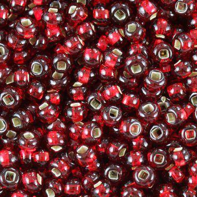 Preciosa beads Rocaille transparent silver lined red 2.1 mm / seed beads