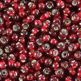 PRECIOSA Rocaille transparent silver lined red 2.1 mm