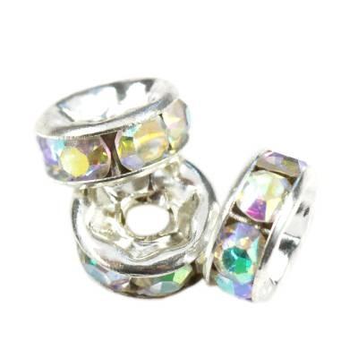 SparkleRings™ kolor srebrny białe AB 6 mm przekładki jubilerskie rhinestone