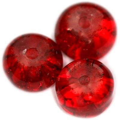 crackle beads rondell red 8 x 5 mm