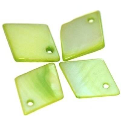 pendentifs nacre losanges verts 15 x 19 mm
