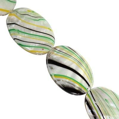 mother of pearl oval yellow waves 20 x 30 mm