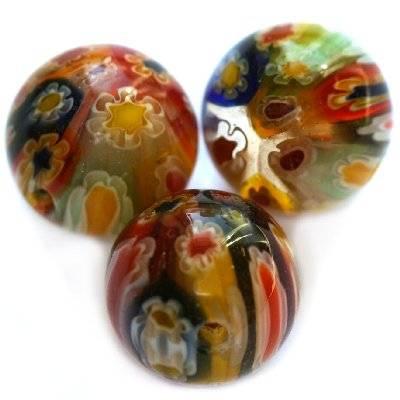 Mehrfarbige Perlen Millefioriglas Blumen 12 mm