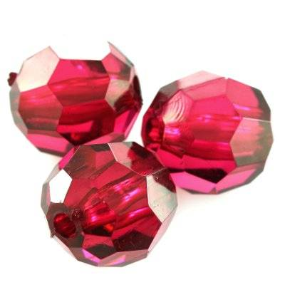 plastic faceted round beads burgundy 16 mm