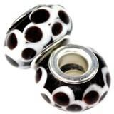 koraliki modułowe czekoladowe oczka na czarnym tle 9 x 14 mm