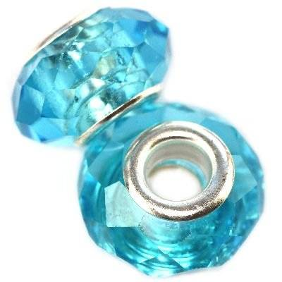 modular beads crystal azure 10 x 14 mm