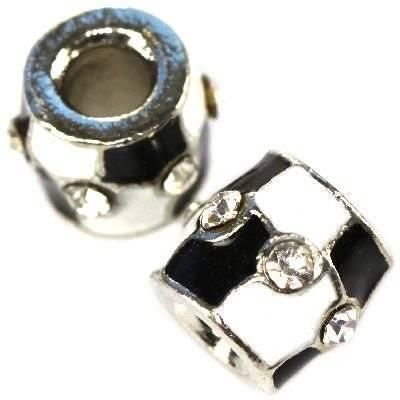 modular beads white-black squares tubes 10 x 12 mm