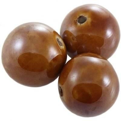 bolas de porcelana brillantes castañas 18 mm