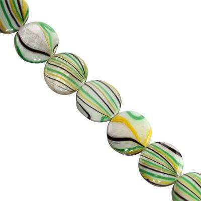 mother of pearl coin yellow waves 14 mm