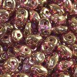 Perles SuperDuo 2,5 x 5 mm luster coating violet / Tchèque Perles 2 trous