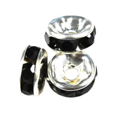 SparkleRings™ kolor srebrny czarne 6 mm przekładki jubilerskie rhinestone